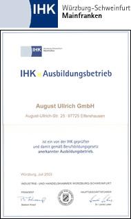 Die Firma August Ullrich GmbH ist ein gemäß Berufsbildungsgesetz als geeignet anerkannter IHK-Ausbildungsbetrieb
